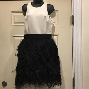 Beautiful Milly White & Black Ostrich dress!